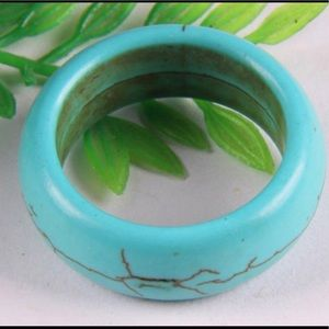 Blue Turquoise ring, natural stone, new. Size: 7.5